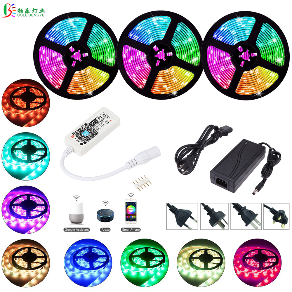 Smart Wifi Rgb Led Strip 15m 10m 5m Waterproof 5050 Led Ribbon Work With Alexa Google Home Party Music Light With 12V Led Power