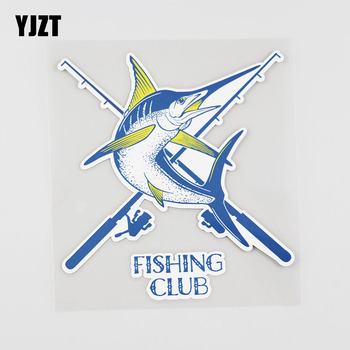 YJZT 13.3CMX14.6CM Fishing Club Car Sticker Fishing Rod Pvc Decal Accessories 6A-0008 image