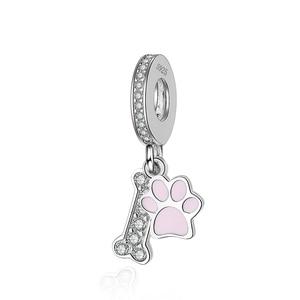 StrollGirl 925 Sterling Silver różowy emalia pies łapa kości koralik CZ wisiorek DIY Charms fit bransoletka Pandora dla kobiet biżuteria prezenty