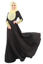 Africa Abaya Muslim Women Dress Round Neck  Lace Sleeve Long Skirt Arab Concise Solid Color Big Swing