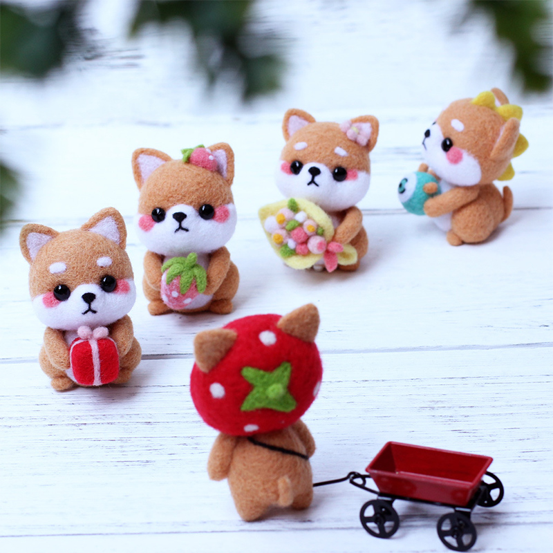 Cute Bear Dog Pet Toy Doll Wool Needle Felt Poked Kitting Craft DIY