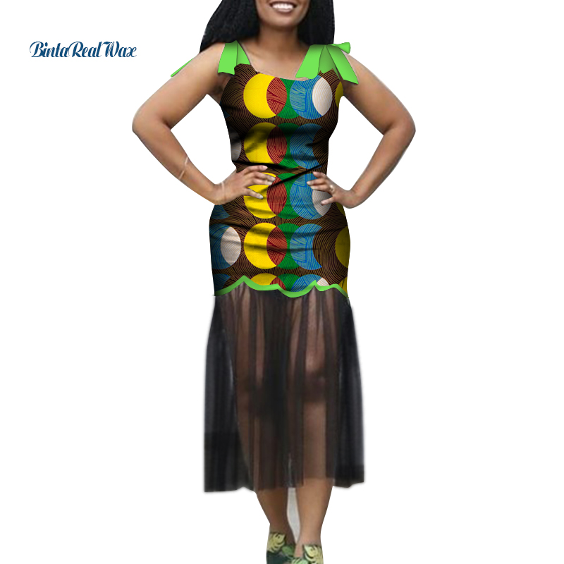 Dashiki African Dresses For Women Bazin Riche African Clothes Ankara Print Sleeveless Dresses African Clothing Customize WY6566