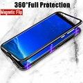 Магнитный поглощающий чехол для Samsung A51, A71, A31, A20, A50, A70, J4, J6, J8, A7 2018, S8, S9, S10 plus, S20, задняя крышка из закаленного стекла