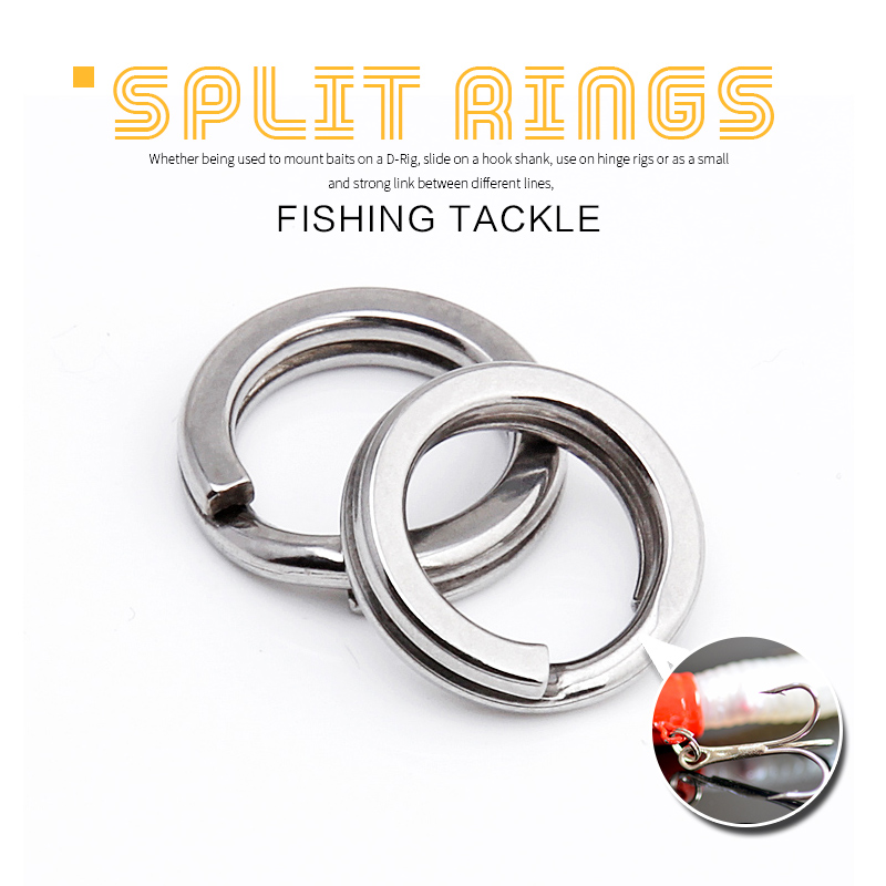 DONQL 50/100/200pcs Stainless Steel Fishing Split Rings <font><b>Lure</b></font> Solid Ring Loop For <font><b>Blank</b></font> Crank Bait Connectors Tackle Tool Kit image
