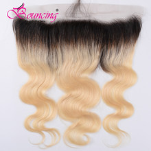 Bouncing Body Wave 13*4 Lace Frontal 1b/613 Ombre Color Brazilian Human Remy Hiar with Baby Hiar Free Shipping(China)