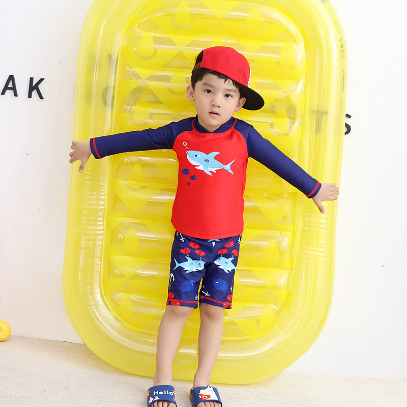 Children Two-piece Swimsuits Long Sleeve Short Cartoon Quick-Dry Baby Swimwear Beach Sun-resistant Children Swimming Suit