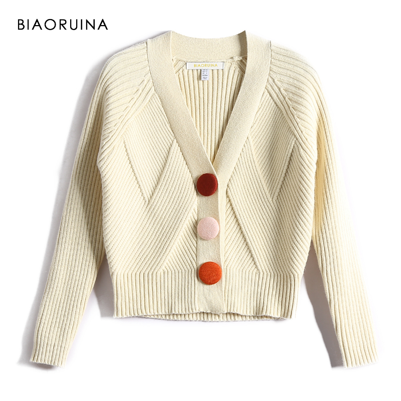 BIAORUINA American Style Women All-match Stretching Fashion Short Knitted Sweater Female Casual V-neck Cardigans New Arrival