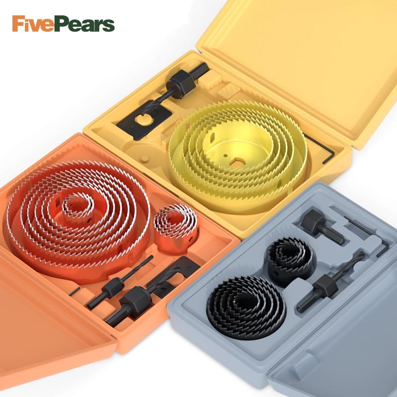 Кольцевая пила FivePears для древесины/пластика/гипсокартона 5/8/13 шт./комплект, кольцевая пила для древесины, сердечник из высокоуглеродистой ст...