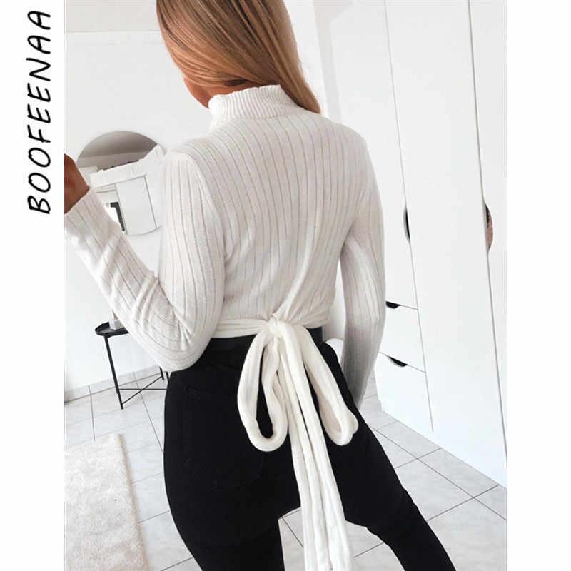 BOOFEENAA Sexy Gebreide Trui Pullover Vrouwen Winter Bow Tie Terug Coltrui Lange Mouw Tops Vakantie Dames Knitwear C34-AA39
