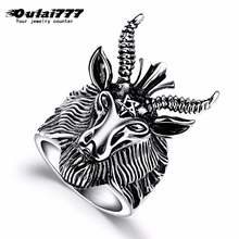 oulai777 ring stainless steel men punk silve big light for mens black lord of the fashion animal rings male jewelry