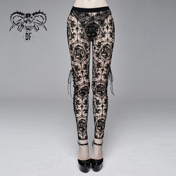 Devil Fashion Women's Gothic Lace Leggings Sexy Perspective Hollow Club Leggings Trousers