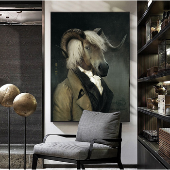 Nordic Retro Goat Canvas Art Posters And Prints Earl of the Paintings On The Wall Picture Decoration Cuadro
