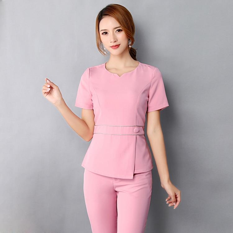 [SET] New Style Fashion Women's Nursing Uniform Scrubs Doctor Costume Women  Nurse Medical Uniform Of Beauty Salon Clothing