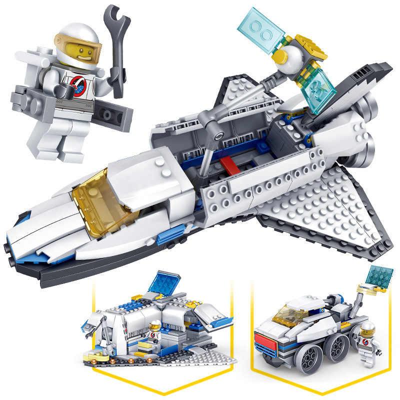 305PCS Crianças Brinquedos de Blocos de Tijolos Brinquedos Educativos para Crianças Meninos Presente Criador Criador Space Shuttle 3 em 1 KAZI