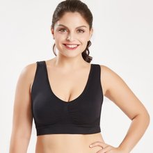 Mulheres Plus Size de Fitness Yoga Sports Bra Acolchoado Wirefree Sutiã Esporte de Alto Impacto Workout Sports Top 4XL 5XL 6XL L7375(China)
