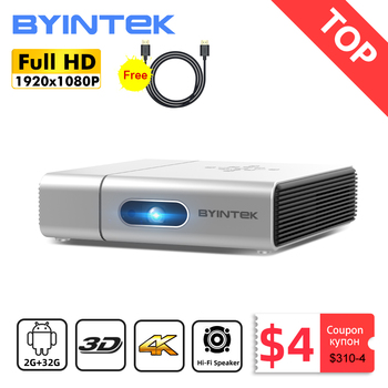 BYINTEK U50 Full HD 1080P Mini 2K 3D 4K Android Wifi inteligente láser portátil casa LED, Proyector DLP Proyector para teléfono móvil