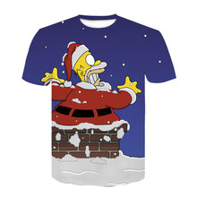 simpson men clothing tshirt anime fashion short-sleeve Santa Claus tops Simpsons T shirt harajuku 3d print t shirt cosplay(China)