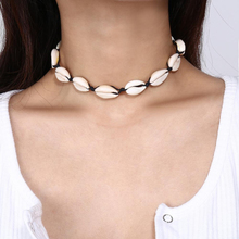 Bohemian Beach Shell Necklace Natural Seashell Collar Choker Black White Rope Chain for Women Charm Conch Cowrie Summer Jewelry faux leather rope conch choker necklace