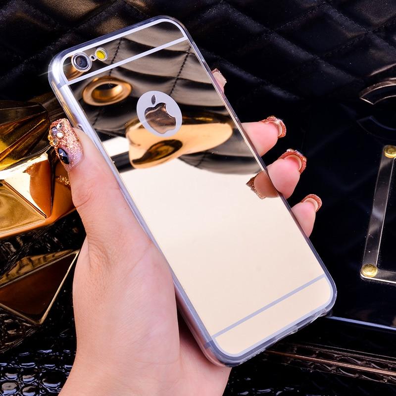 Capa espelhada luxuosa para celular, para iphone x 4 4S 5 5S 6 6s 7 8 plus capa traseira tpu macio proteção de borda completa