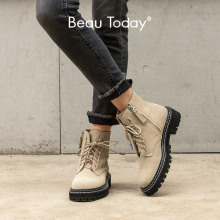 Beautoday Mode Enkellaars Vrouwen Koe Suede Lace-Up Zip Platform Echt Lederen Dames Winter Laarzen Handgemaakte 03443