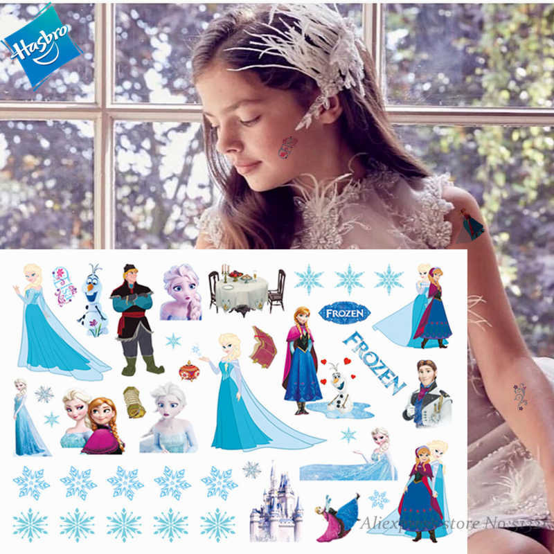 Hasbro Prinses Elsa Bevroren Kinderen Cartoon Tijdelijke Tattoo Sticker Voor Meisje Cartoon Tatto Speelgoed Grappige Verjaardag Party Kids Gift