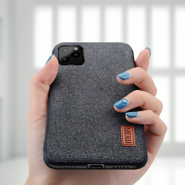 MOFi iPhone 11 Pro Max Luxury Fabric Shockproof Silicone Back Case Cover