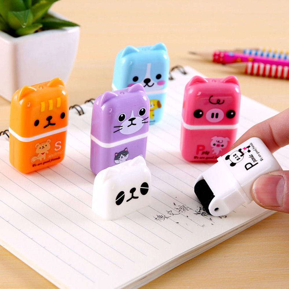 1pc Cute Novelty Creative Roller Eraser Cute Cartoon Rubber Kawaii Stationery School Supplies Kids Gifts