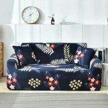 Mode Bloem Plant Afdrukken Stretch Sofa Cover Elastische Loveseat Bank Dekt Voor Woonkamer Stofdicht All Inclusive Kussenovertrekken
