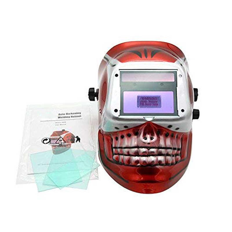 Máscara de soldagem automática solar/capacete de soldagem/tampão do soldador/máscara protetora de óculos para equipamento de soldagem tig mig mma mag (crânio vermelho)