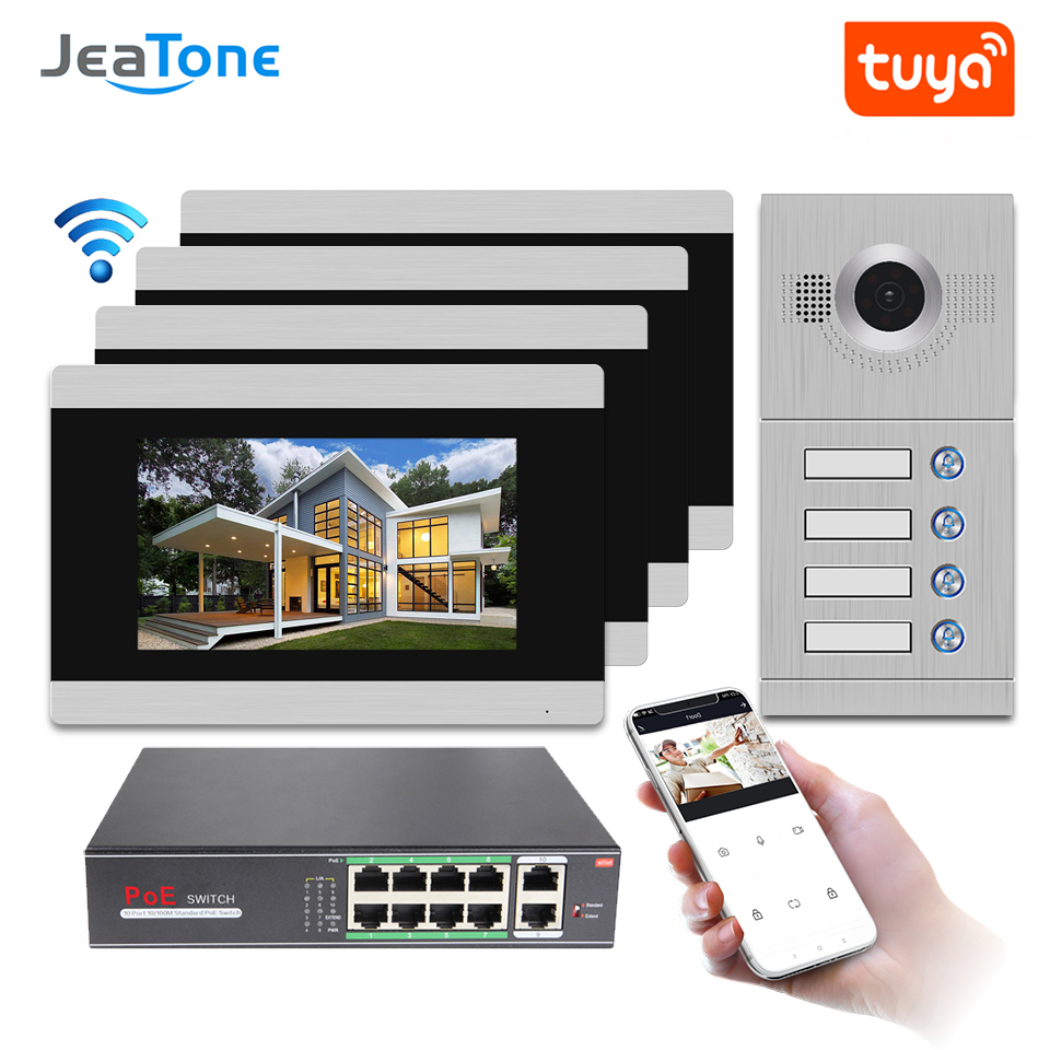Ip Deurtelefoon Wifi Video Intercom Video Deurbel 7 Touch Screen Voor 4 Aparte Appartementen/Kan Toevoegen Gas/Rook/Water Alarm Sensor