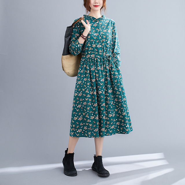 Uego Fashion Autumn Dress Linen Cotton Print Floral Prairie Chic Vintage Dress Drawstring Slim Women Casual Spring Midi Dress 5