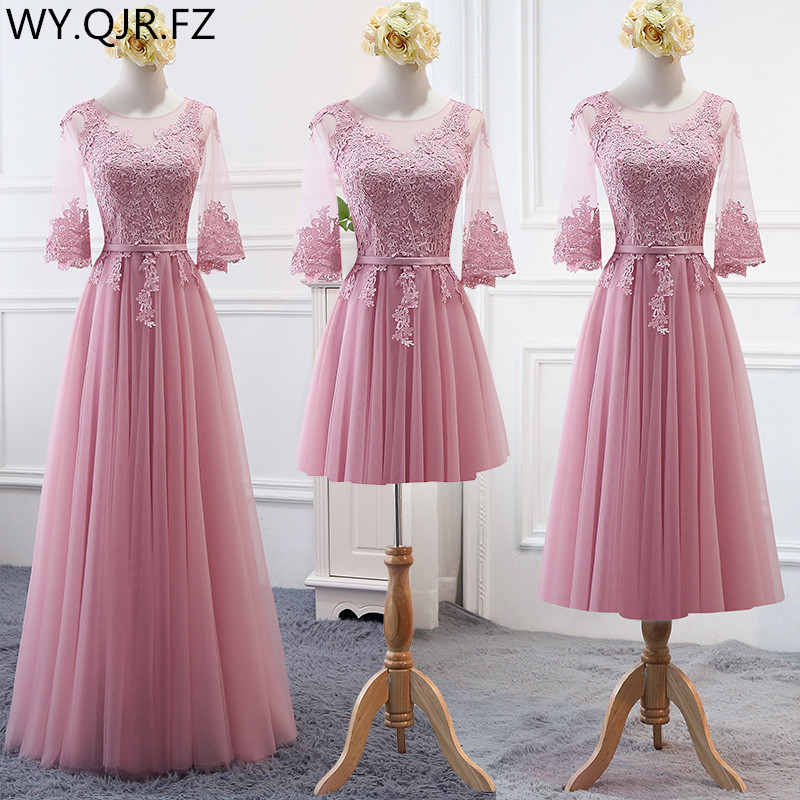 MNZ-17D#Embroidered Pale Mauve Bridesmaid's Dresses Long Lace Up Middle Sleeve Marriage Sister Christmas Dress Girls Wholesale