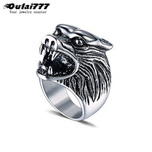 oulai777 mens rings stainless steel men punk signet-ring male big wolf head rings lion animal men's finger-ring men Accessories oulai777 signet ring men tainless silver jewelry signet ring men s punk finger fashion hip hop gothic ring men accesories