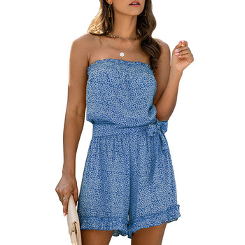 Off Shoulder Playsuits Women Boho Beach Jumpsuits Rompers Sexy Ruffle Playsuits Sashes Wide Leg Romper Sleeveless Overalls Q30 wuhe two pieces set sexy lace patchwork jumpsuits women off shoulder sleeveless bodycon bandage romper party short playsuits