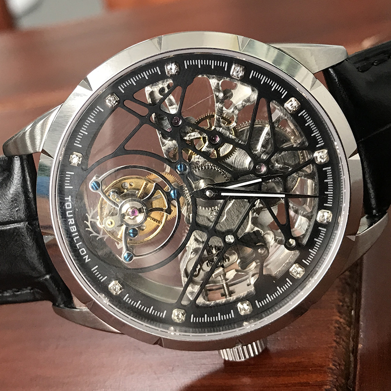 Image 5 - Super New Model GUANQIN Original Tourbillon business men watch top brand luxury Skeleton Sapphire  clock men Relogio Masculino-in Mechanical Watches from Watches