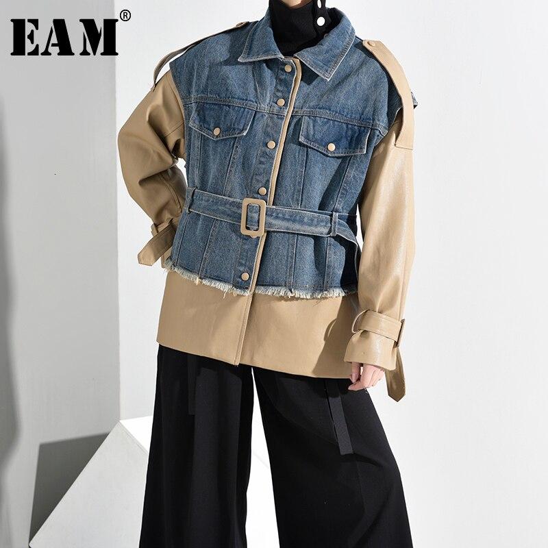 [EAM] Loose Fit Khaki Denim Bandage Big Size Jacket New Lapel Long Sleeve Women Coat Fashion Tide Spring Autumn 2020 1K9220