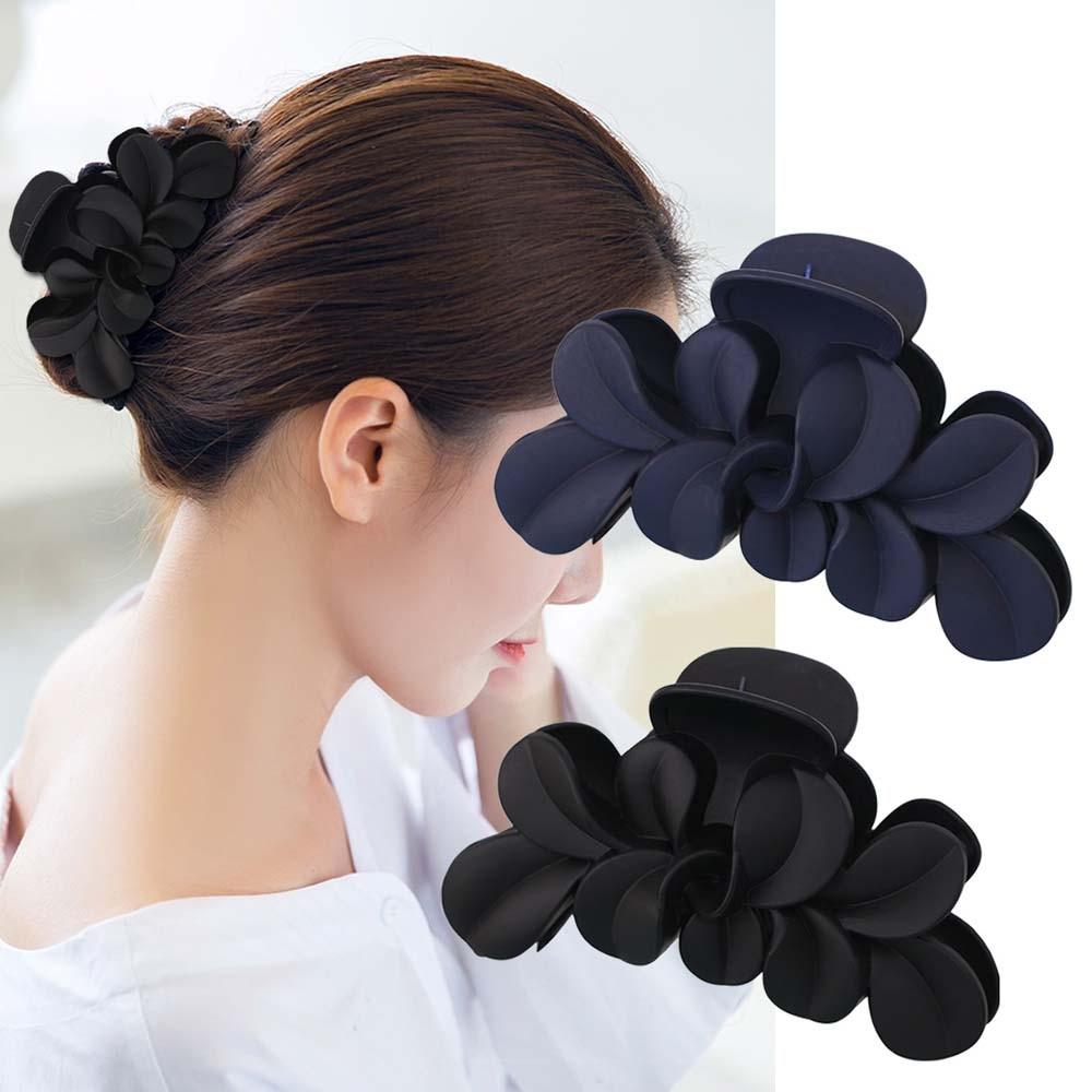 Big Flower Matte Hair Claws Korean Simple Grip Clip Matte Hollow Curved Hair Catch Glossy Half Catch Wild Clip Hair Accessories