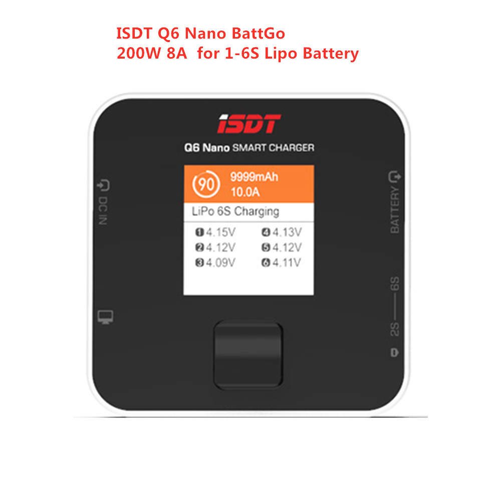 New ISDT Q6 Nano BattGo 200W 8A Colorful Pocket Battery Balance Charger For 2S - 6S Smart Digital Lipo Battery For Fpv RC Models