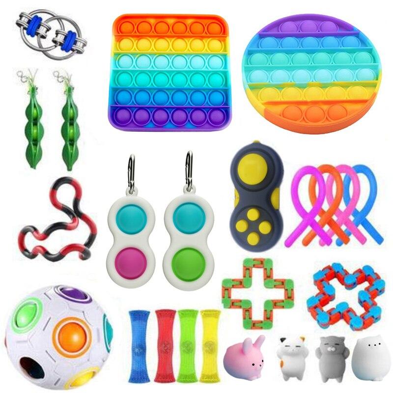 Ensemble de jouets Anti-Stress pour adultes et enfants, avec cordes Pop It, Anti-Stress, Anti-Stress sensoriel