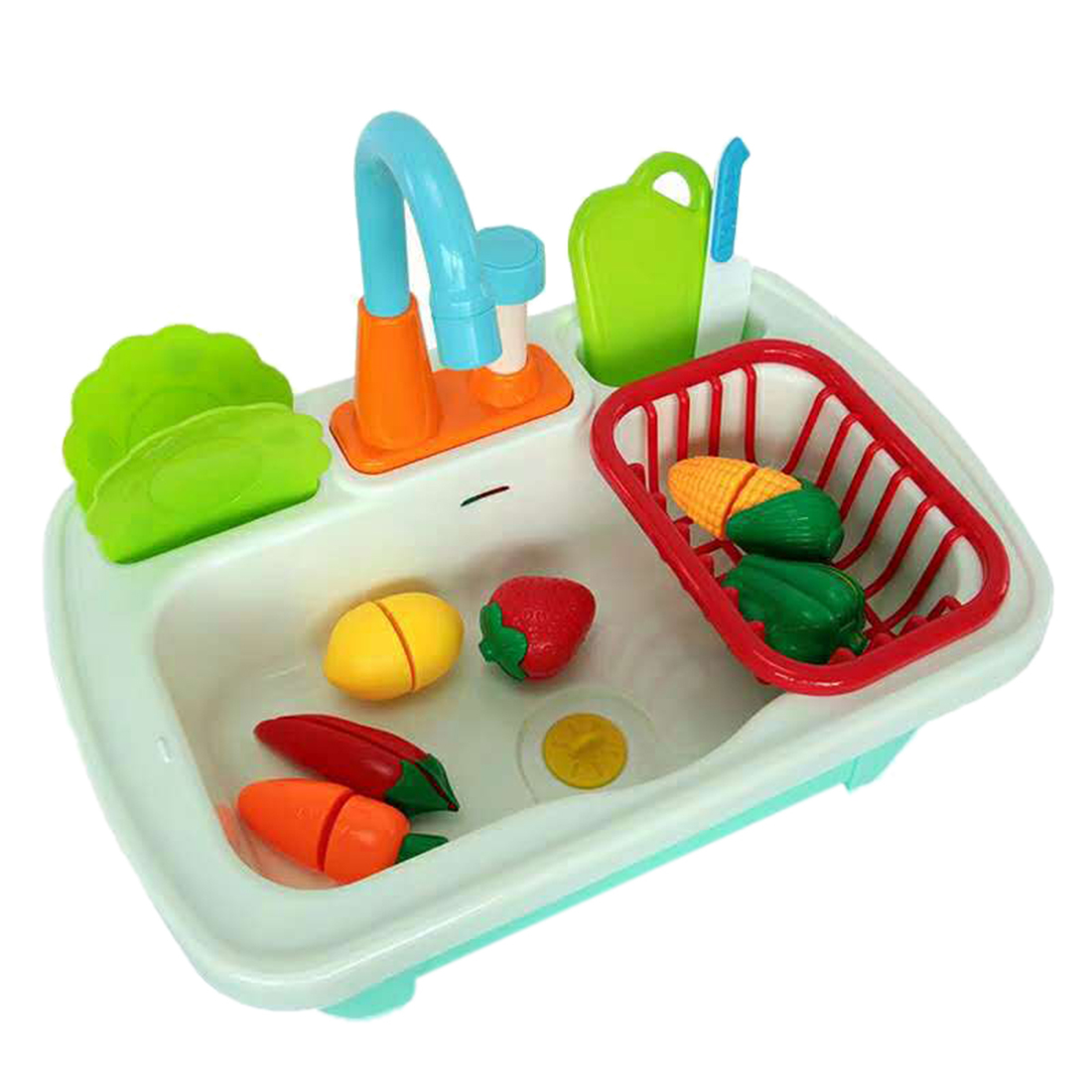 12Pcs Children Pretend Play Kitchen Chores Toys Washing Dish Sink Playset Classic Game Simulation Kitchen Toy Early Educate Gift