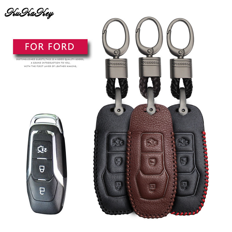 Leather Car Key Case Cover Protection Shell Skin For <font><b>Ford</b></font> Fiesta Focus MK3 MK4 Mondeo Ecosport Kuga <font><b>ST</b></font> Car <font><b>Keyring</b></font> Keychain image