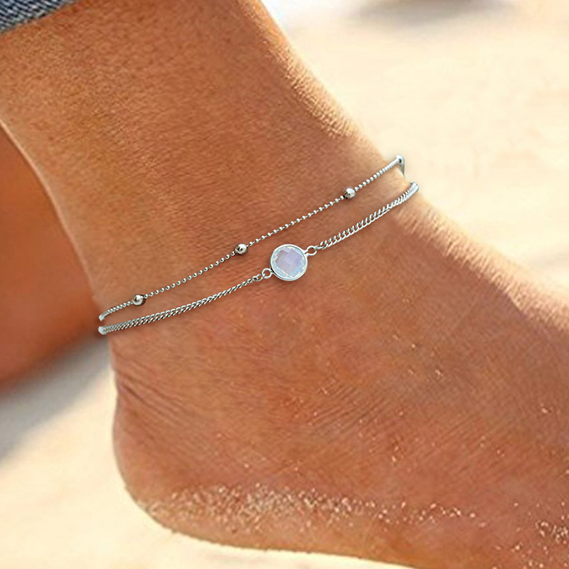 New Bohemian Boho Opal Female Anklets Barefoot Crochet Sandals Foot Jewelry Leg Chain Anklets On Foot Ankle Bracelets For Women