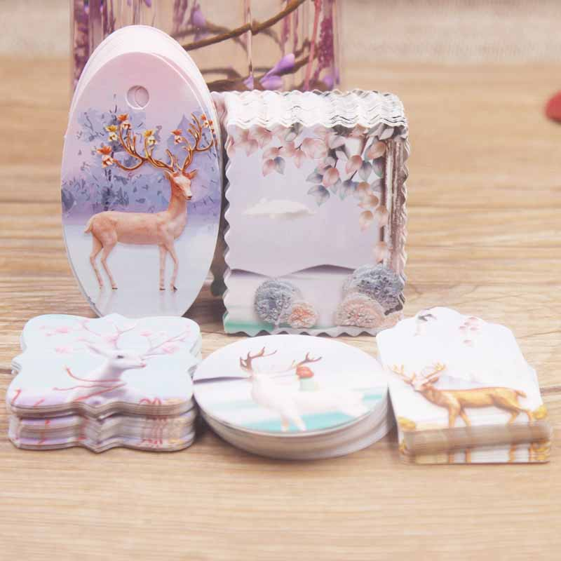 Newest 50pcs multi brown /white paper gifts label tag DIY jewelry charms tag Romatic wedding favors /cookies decorative tag
