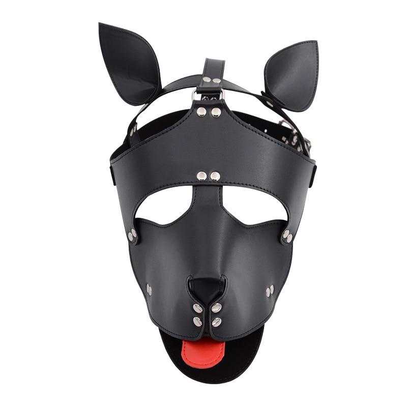GENUINE BLACK LEATHER PUPPY MASK with COLLAR BONDAGE DOG HOOD