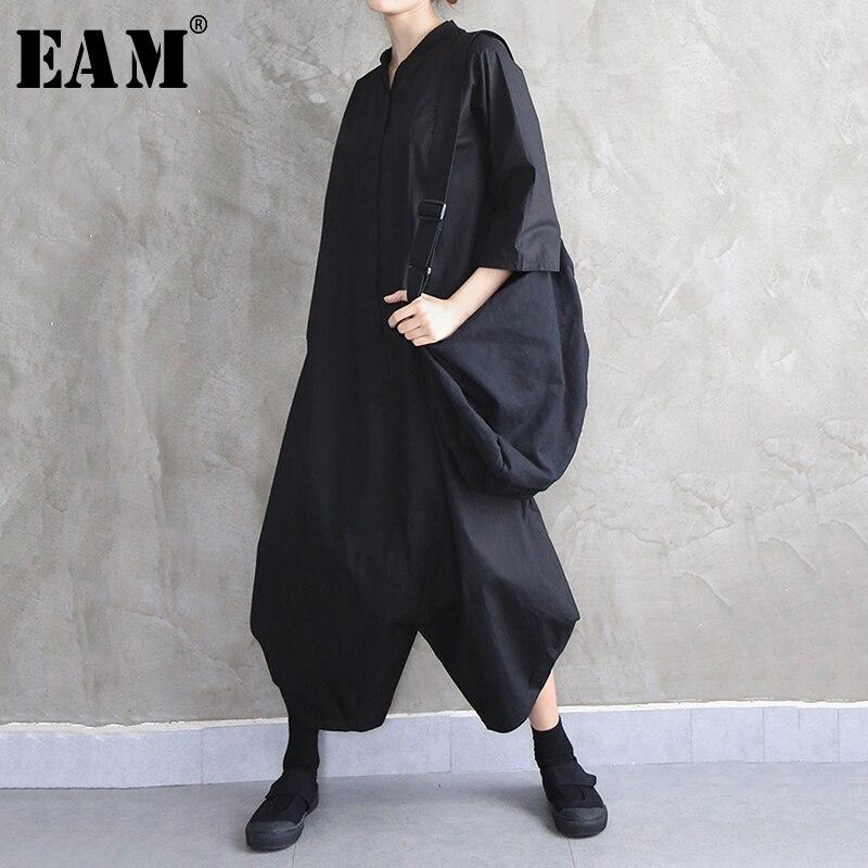 [EAM] Loose Fit Black Split Long Wide Leg Women Jumpsuit New High Waist Pocket Stitch  Pants Fashion Spring Autumn 2020 1N642