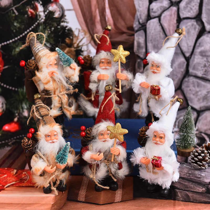 Carrywon חמוד חג המולד קישוטי עומד יציבה פלנל סנטה בובת קטן בובת קישוטי חג המולד מתנת יום תליון כוכבים