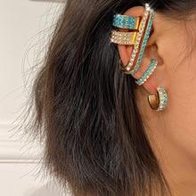 цена на Alternative Color Rhinestone Stud Earrings Ear Clip Set New Hot Earrings for Women MSWEIJIA Earrings Jewelry