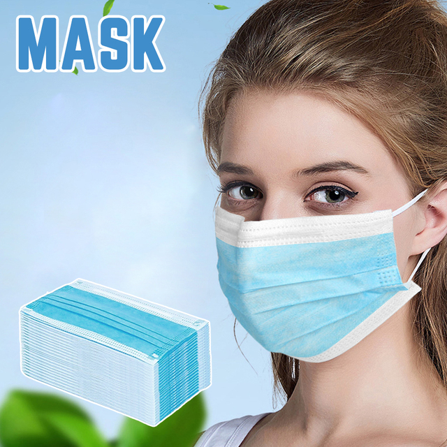 In stock! 20/40/60/100PCS Non Woven Disposable Face Mask 3 Layers Anti-Dust Face Masks Ear loop Mouth Mask 1