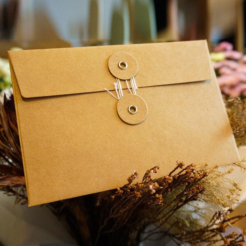 10pcs Vintage Line Buckle Kraft Paper Bag Gift Bags Vintage Envelope For Card Scrapbooking Gift Stationery Envelope