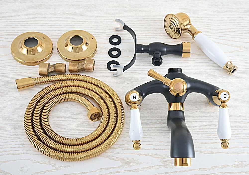 Czarny kolor złoty mosiądz do montażu na ścianie bateria do wanny podwójny uchwyty obrotowa wylewka Mixer Tap z opryskiwacz ręczny zna446